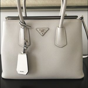 Prada Saffiano Double Turn Locked Tote